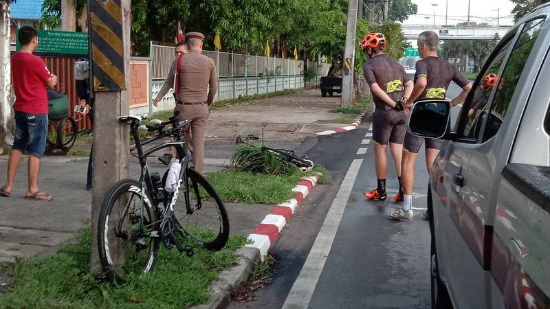 The Nissan Almera switched lanes and hit the bicycle outside Ban Tha Rua School in Thalang early on Sunday morning (May 12). Photo: Eakkapop Thongtub