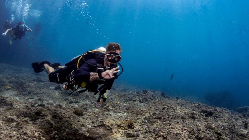 Dan the underwater man diving near Koh Phi Phi.