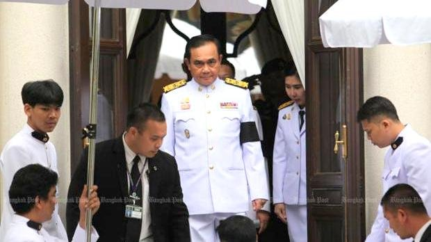 Gen Prayut Chan-o-cha leaves the Pakdibodin Building after receiving a royal command appointing him the prime minister in Government House in Bangkok on Tuesday (June 11). Photo: Wichan Charoenkiatpakul