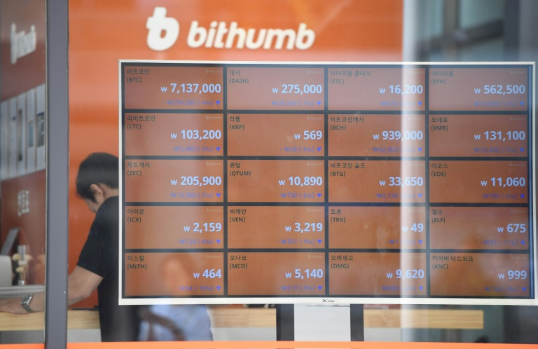A man stands behind a screen showing exchange rates of cryptocurrencies at Bithumb virtual currency exchange in Seoul on June 20, 2018; Facebook's new Libra digital money is being backed by cash in an effort to maintain a stable value. Photo: AFP