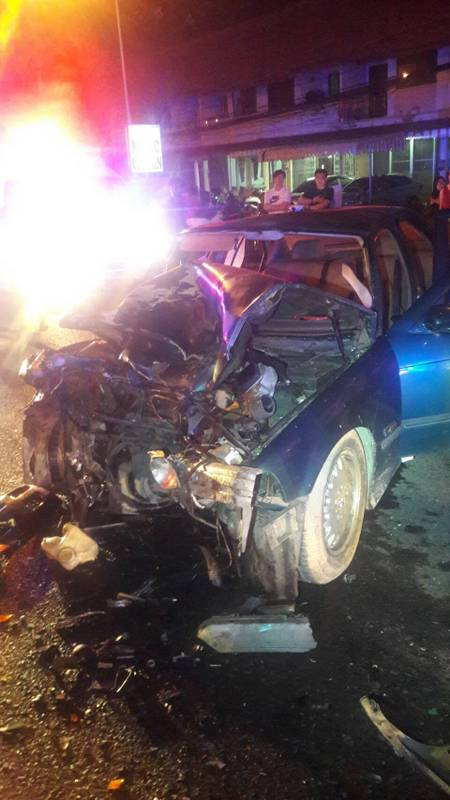 The front end of the BMW was destroyed by the impact. Photo: Eakkapop Thongtub