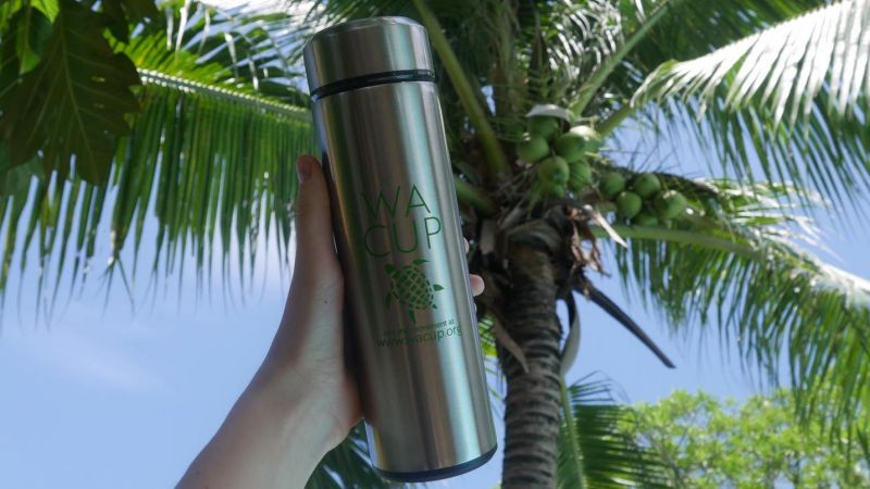 The sleek, silver, stainless steel WA Cup bottle.