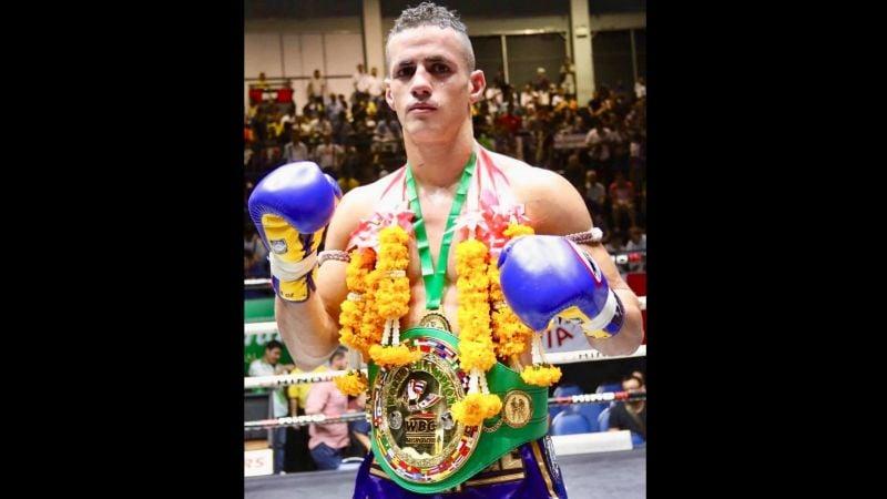 Phuket fighter Luis Cajaiba becomes WBC Muaythai welterweight world champion in Lumpinee Stadium, Bangkok. Photo: WBC Muaythai