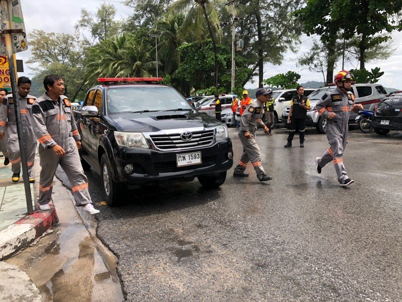 The tsunami-evacuation drill conducted in Patong today (June 25) was hailed a success. Photo: Patong Municipality Fire Dept