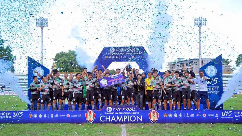 Assumption United FC lift the National Youth Champions League trophy. Photo: Assumption United FC Facebook page.