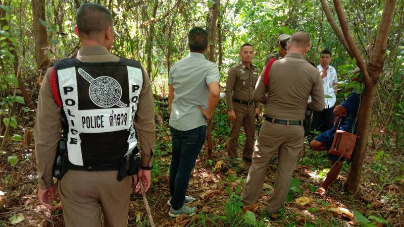 The human skeleton was found about 150 metres from the Baan Ua Arthorn government housing estate in Moo 1, Srisoonthorn. Photo: Eakkapop Thongtub