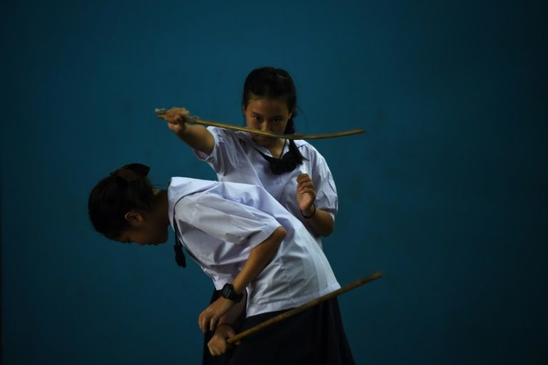 The schoolgirls say it has armed them with self-defense skills. Photos: AFP