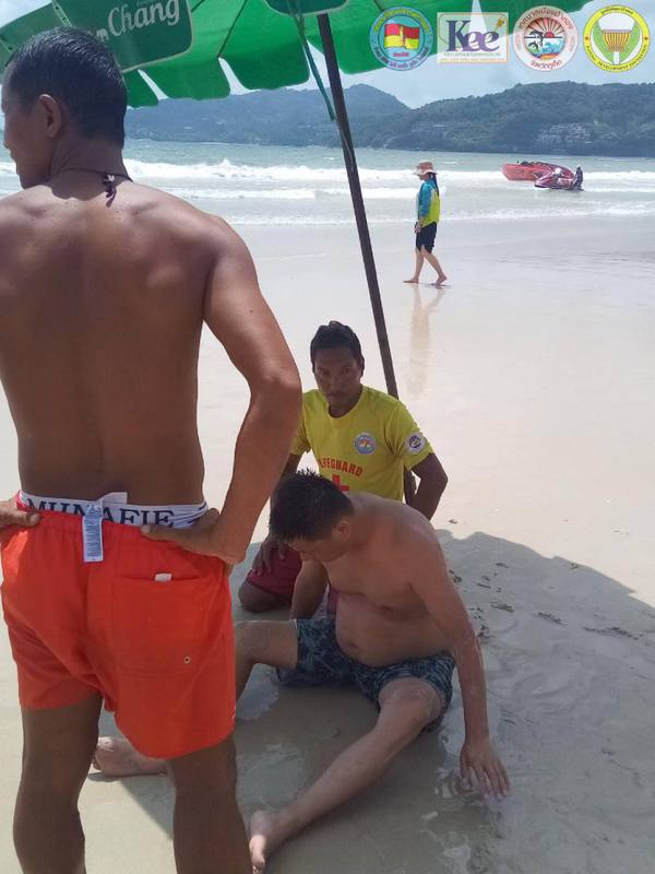 Lifeguards at Patong Beach rescued three Chinese tourists from a dangerous rip current on Tuesday (July 30) after they ignored red 'No Swimming' flags. Photo: Patong Surf Life Saving