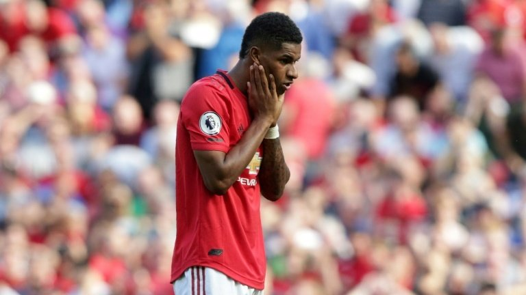 Work in progress: Marcus Rashford missed a penalty in Manchester United's 2-1 home defeat by Crystal Palace. Photo: AFP / Lindsey Parnaby
