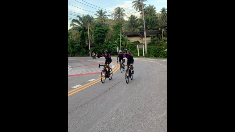 Cyclists taking advantage of the uncrowded, scenic roads.
