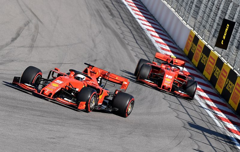 Ferrari's German driver Sebastian Vettel (L) leads ahead of Ferrari's Monegasque driver Charles Leclerc during the Formula One Russian Grand Prix at The Sochi Autodrom Circuit in Sochi on September 29, 2019. Photo: AFP
