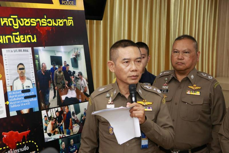 Immigration Police Chief Lt Col Sompong Chingduang yesterday (Oct 22) announced that German national Richard Stanislaus had been taken into custody over the death of 77-year-old Margund Schaefer. Photo: Immigration Bureau