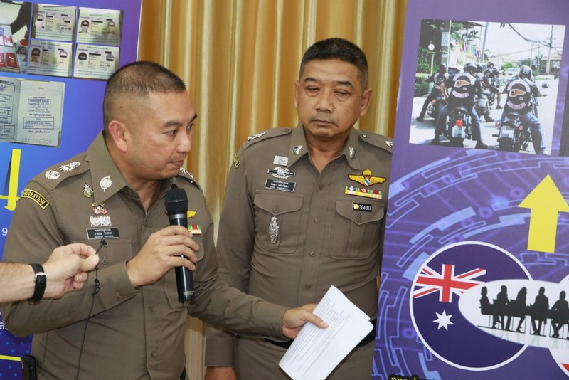 Australian Hell's Angels biker gang member Luke Anderson, 43, wanted for drugs and firearms charges in Australia, was arrested in Pattaya last Thursday (Oct 24), Immigration officers announced yesterday (Oct 28). Photo: Immigration Bureau