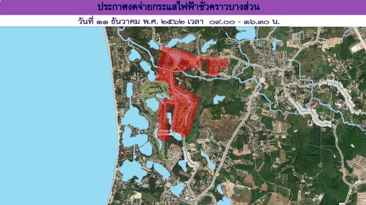 The PEA's map of the affected area. Image: PEA / Google Maps