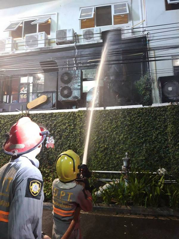 Grease around the cooker caught light, with the fire spreading up the fume extractor. photo: Patong Municipality Fire Dept