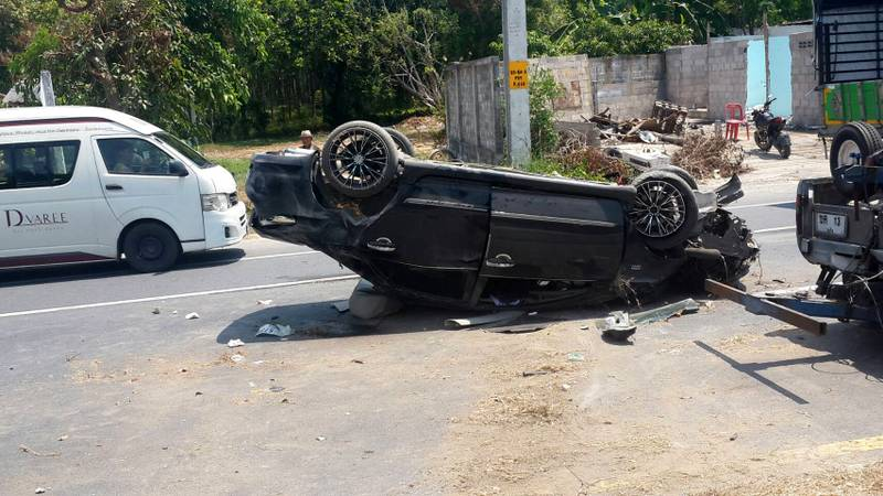 The wipeout occurred on the busy Thepkrasattri Rd at about midday yesterday (Mar 2). Photo: Eakkapop Thongtub