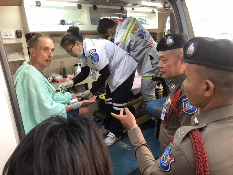 Although fatigued, American David Mitchell declined to go to hospital, and was later taken back to his hotel in Patong. Photo: Phuket Tourist Police