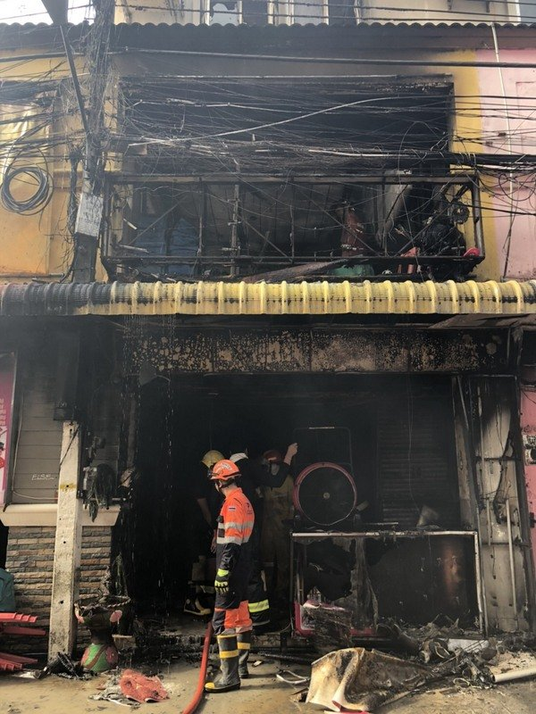 Firefighters took an hour to extinguish the blaze. Photo: DDPM-Patong