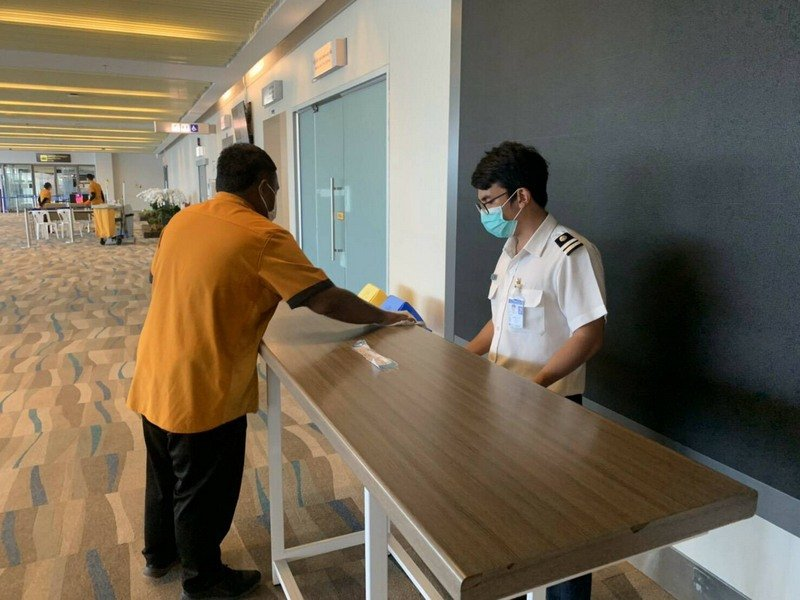 Areas at Phuket airport where passengers will have their details checked were bring prepared today. Photo: AoT Phuket