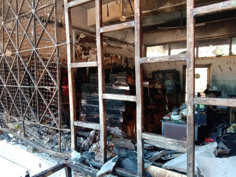 The fire started from the school shop room and spread to the school bank room. Photo: Eakkapop Thongtub