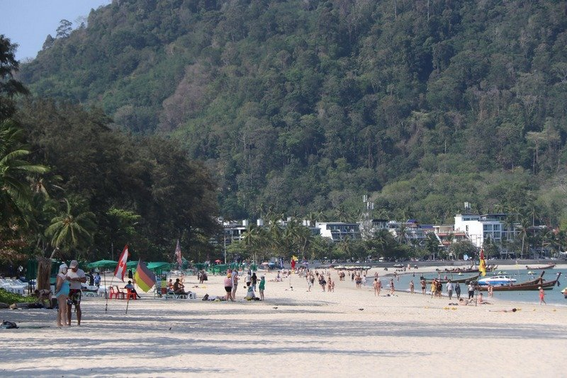 """Tourists could still be seen on Patong Beach, but far fewer than have been at this time of year for many years, said Patong magnate Preechawude """"Prab"""" Keesin. Photo: PR Dept"""