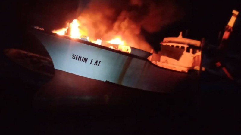 The Shun Lai caught fire while anchored about 100 metres from the Asia Marina Pier in Rassada. Photo: Kusoldharm Phuket