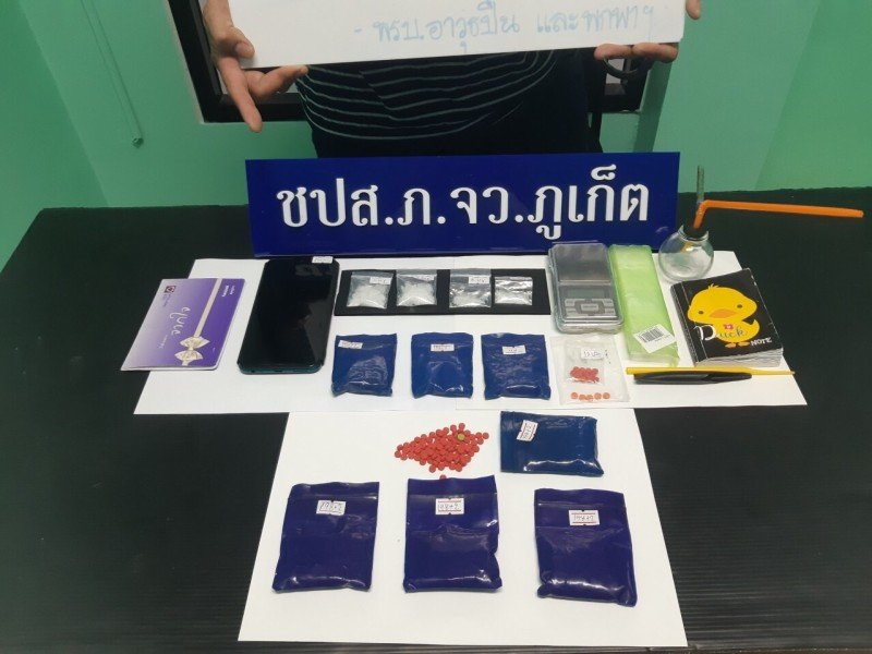 Some of thr drugs seized in the raids. Photo: Phuket Provincial Police