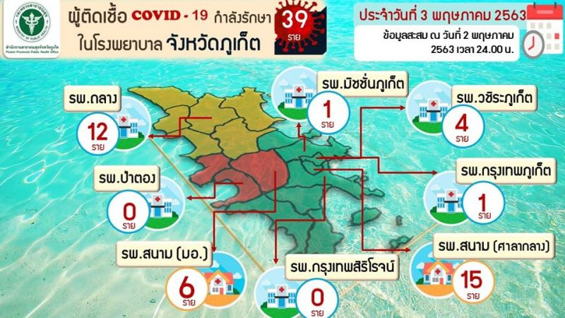A map showing the locations where people infected with COVID-19 in Phuket are receiving treatment, accurate as of midnight Saturday night (May 2). Map: PPHO