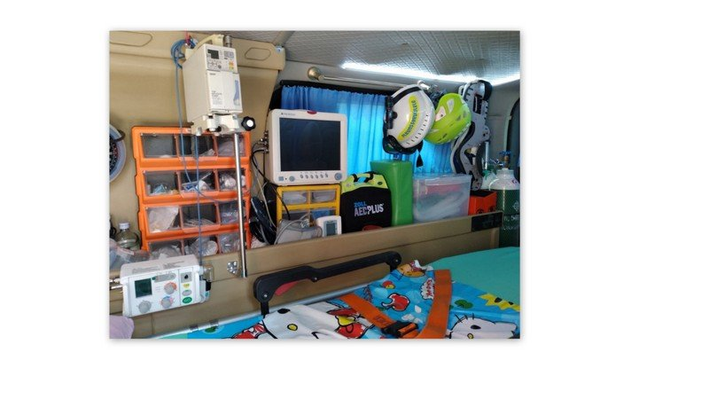 The inside of Ple's ambulance who is the head of the Kusoldhsarm division of the Cherng Talay area and who paid for the ambulance himself. Photo: Jeff Craig