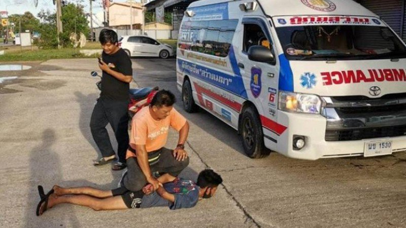 After escaping police custody on foot, Anurak was caught by local rescue workers in Takua Pa. Photo: Sawang Maekha rescue foundation