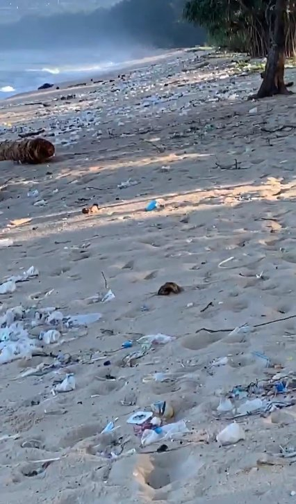 The plastic waste on Layan, Leypang beaches stretches as far as the eye can see. Image: Supplied