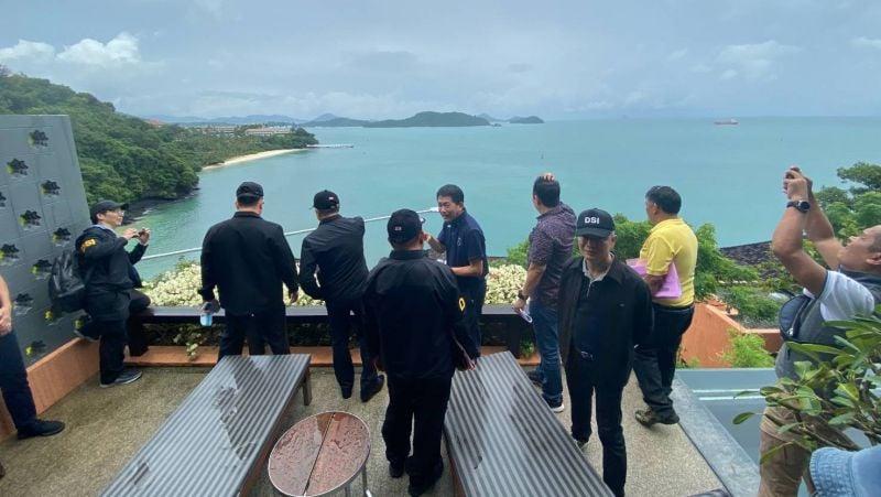 DSI Deputy Director-General Pol Col Akarapol Punyopashtambha  today (Oct 8) led a team of investigators to inspect the land plots occupied by the Sripanwa resort, on Phuket's east coast. Photo: DSI