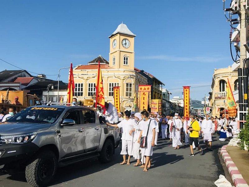 Devotees and Mah Song this morning departed the Lim Hu Tai Su Shrine in Samkong to make their way to Saphan Hin. Photo: PR Phuket