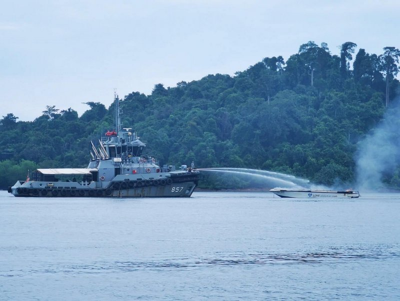 The tourist speedboat was gutted by the blaze. Photo: Royal Thai Navy Third Area Command