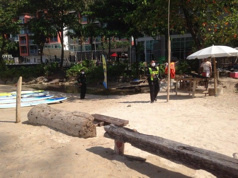 The surfing class on Kamala Beach was raided on Monday morning. Photo; Kamala OrBorTor