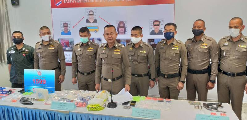 The arrests netted more than 24,000 meth pills, more than four kilos of crystal meth as well as two handguns. Photo: Eakkapop Thongtub