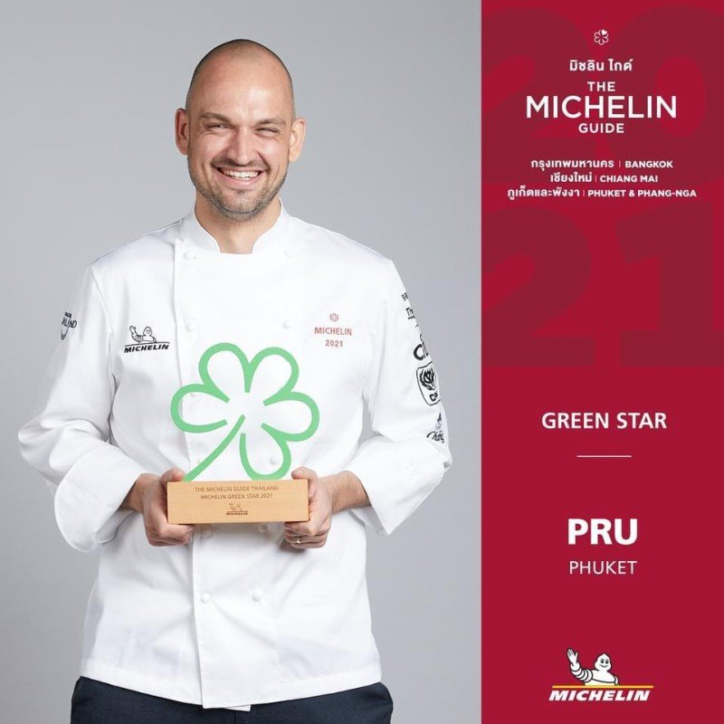 Chef Jimmy Ophorst collected the Green Star, or 'clover' for sustainable gastronomy on behalf of Phuket's one and only Michelin starred restaurant, PRU, located at Trisara.