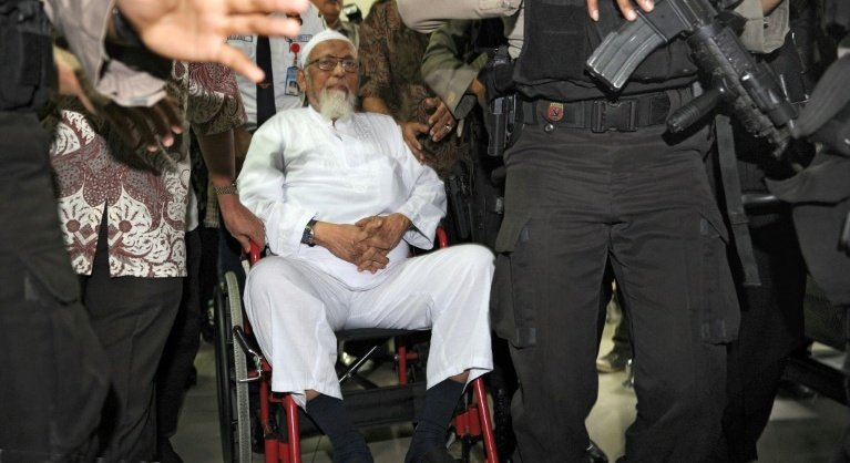 Abu Bakar Bashir, 82, once synonymous with militant Islam in Indonesia, will be freed from jail today (Jan 8). Photo: AFP.