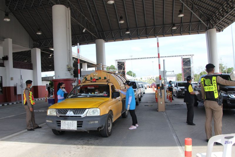 People driving onto the island are checked at the Phuket Check Point. Photo: PR Phuket