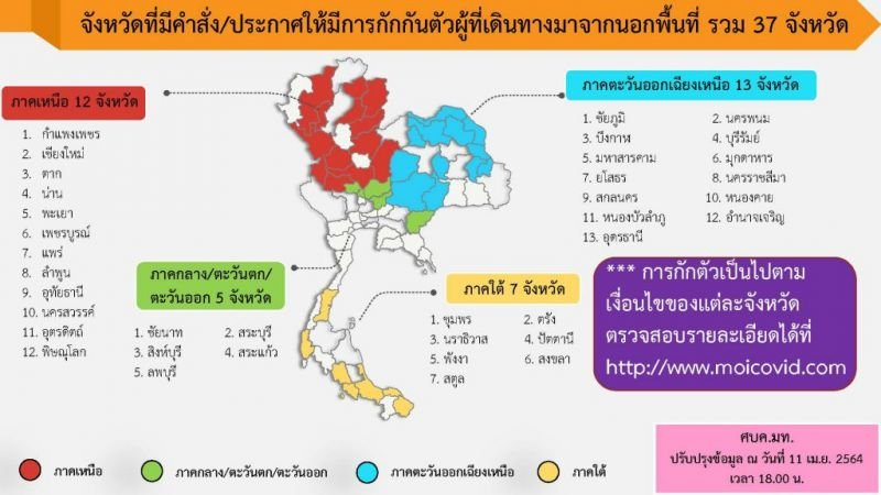 Thirty-seven provinces have issued orders asking people arriving from the red zone risk areas to self-isolate after arriving in their provinces. Phuket is not enforcing any such requirement. Image: Ministry of Interior