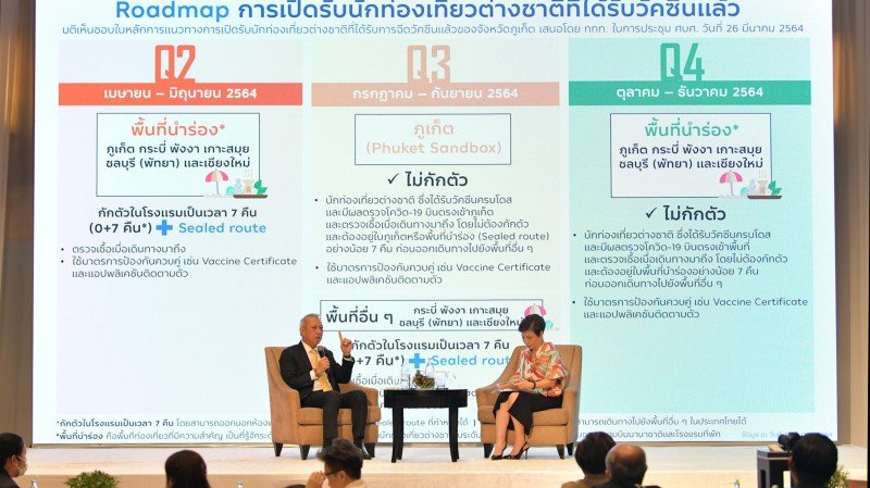 Tourism and Sports Minister Phiphat Ratchakitprakarn (left) explains the 'Phuket Sandbox' plan at an event in Bangkok on April 1. Photo: MoTs