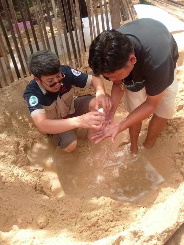The eggs were safely recovered from the turtle nest at Laem Pai Beach, near Cape Promthep, Photo: Rawai Municipality