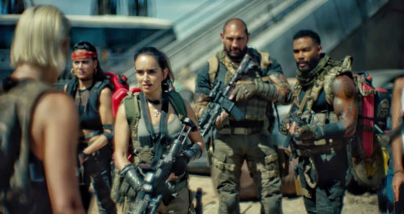 Ana de la Reguera, Omari Hardwick, Dave Bautista and Samantha Win in Army of the Dead (2021). Image: IMDB