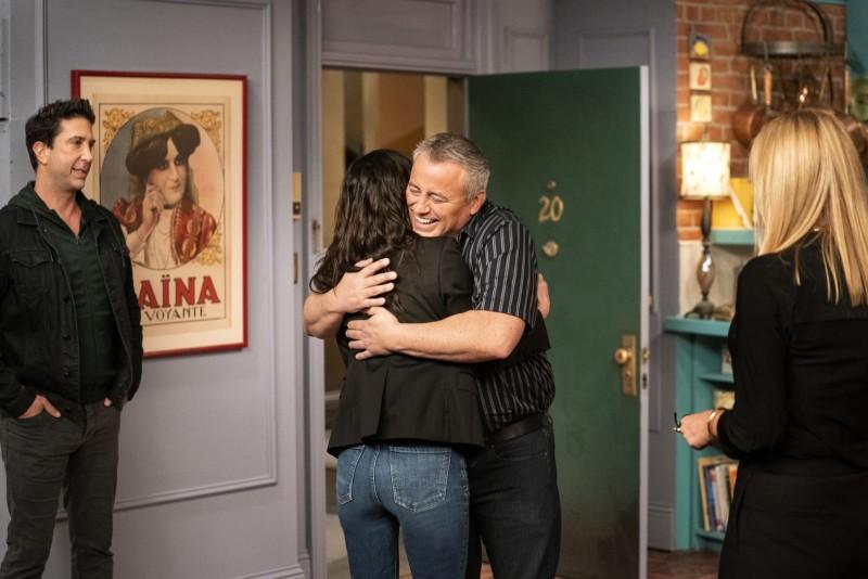 Courteney Cox, Lisa Kudrow, Matt LeBlanc, and David Schwimmer in Friends: The Reunion (2021). Photo: IMDB